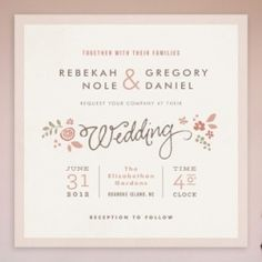 Typographic wedding invitation inspiration from a graphic designer! A way to show your unique personality without including engagement pics.