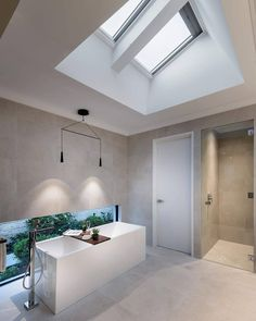 VELUX Skylights to Ensuite over bath 2x VSS M04 Solar Powered Remote Control Opening side by side