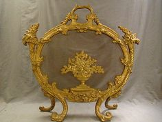 19thC Antique FRENCH Victorian BRONZE FLOWER BASKET Old FIREPLACE Fire SCREEN - http://mostbidded.com/ads/19thc-antique-french-victorian-bronze-flower-basket-old-fireplace-fire-screen