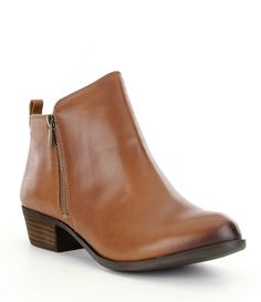 30c2c63aed6 Lucky Brand Basel Smooth Leather Zip Block Heel Booties