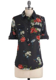 Blouse Party Top in Fall Floral - Black, Red, Green, Blue, White, Floral, Buttons, Pockets, Casual, Long Sleeve, Mid-length, Cotton, V Neck, Top Rated