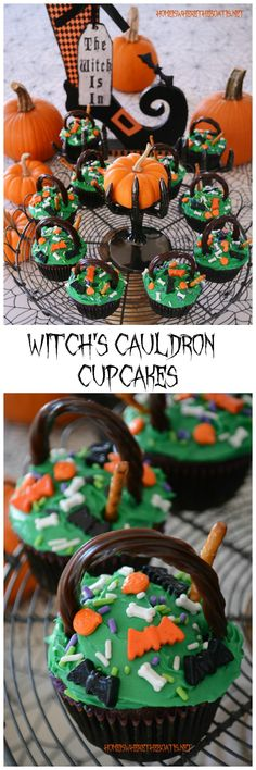 Witch's Cauldron Cupcakes!  A quick and easy recipe for Halloween with a doctored cake mix and Twizzlers Twists cauldron handles! Little witches will enjoy custom blending their cauldron cupcakes with an assortment of sprinkles for a fun Halloween activity and treat! #halloween #cupcake #NationalChocolateCupcakeDay