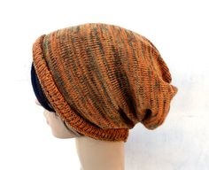 knit hat, knitted colorful cap, orange slouche, knitting women tam, men hat, multicolor cloche, wool winter hat, beanie, accessories by peonijahandmadeshop on Etsy
