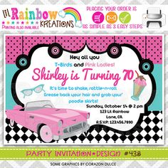 This item is unavailable Dance Party Birthday, Moms 50th Birthday, 70th Birthday Parties, 50th Birthday Party, Birthday Party Invitations, 1950s Theme Party, Fifties Party, Pink Chevy, Grease Party