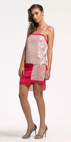 Vestido minimal c/ sobreposições - Crepe Span Fluidity, Transparência Paetê Curves e Hi multi chiffon classic #novasexpressoes #elegancia #chique #minimal #brilhos #paetes #transparencias #rosas #modacontemporanea #fashion #lookbook #summer #verao15