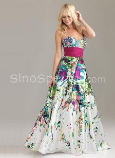colorful A-line Sweetheart Neckline Beadings Floor Length Satin dress