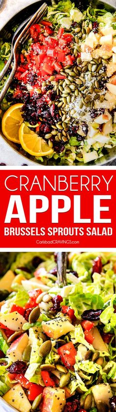 Cranberry Apple Shaved Brussels Sprouts Salad with Lemon Poppy Seed Dressing is one of my favorite salads IN THE WORLD! It belongs on your table this Thanksgiving and Christmas and all season long! The perfect STRESS FREE make ahead side that is flavor and texture heaven! #thanksgivingside #thanksgivingsalad #cranberry #salad