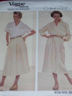 VOGUE #1320 - AMERICAN DESIGNER CALVIN KLEIN DRESS - TOP & SKIRT PATTERN  10 uc #VOGUE