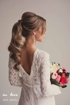 Hair updo, ponytail updo, curly ponytail hairstyles, wedding hairstyles for Cute Ponytail Hairstyles, Wavy Ponytail, Cute Ponytails, Wedding Hairstyles For Long Hair, Wedding Hair And Makeup, Bride Hairstyles, Pretty Hairstyles, Hair Makeup, Ponytail For Wedding