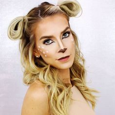 Bambi makeup but this hairstyle can work for any sweet lil woodland creature your heart leads you to be. Quick N Easy Halloween Costumes, Reindeer Costume, Halloween Costumes For Work, Cute Halloween Costumes, Quick Costume Ideas, Halloween Makeup Last Minute, Easy Last Minute Costumes, Teen Costumes, Woman Costumes