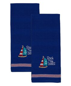 This Rock the Boat Embroidered Dish Towel - Set of Two is perfect! #zulilyfinds