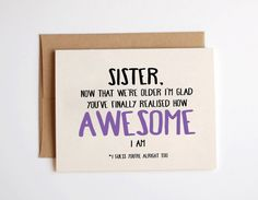 Sister Now That Were Older Birthday Card Kraft By Emmasinvites GBP