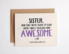 Sister 'now that we're older' Birthday Card Kraft by Emmasinvites, £2.00