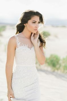 Floravere wedding dress with illusion neckline: http://www.stylemepretty.com/california-weddings/2017/02/10/looking-for-the-perfect-bridal-session-spot-the-desert-is-it/ Photography: Alex W - https://www.alexwphotography.com/