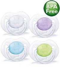 Philips AVENT SCF170/18 Translucent Pacifiers, 0-6 Months, 2-Pack, Colors May Vary