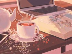 mienar: evening routine - Tea, Coffee, and Books Anime Gifs, Art Anime, Aesthetic Gif, Aesthetic Wallpapers, Brown Aesthetic, Aesthetic Drawing, Computer Kunst, Wallpaper Telephone, Art Pastel