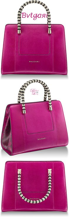 Bvlgari Serpenti Scaglie Shopping Bag in berry tourmaline smooth calf leather and calf leather