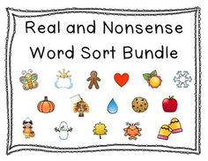 Real and Nonsense word sorting activities for the whole year!!  This packet includes 16 activities using the following themes:  Leaves, apples, trick or treaters, monsters, pumpkins, turkeys, gingerbread men, snowmen, snowflakes, mittens, hearts, raindrops, cookies, flowers, butterflies, and sunshine.