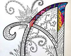 Buchstabe M-Zentangle inspiriert durch die von DJPenscript auf Etsy