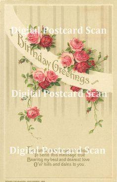 Birthday Card 02  Vintage digital printable by SistersScrapbooking, $2.50