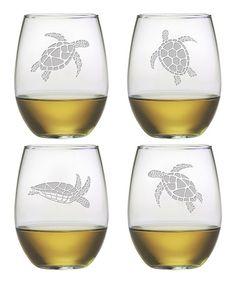 Susquehanna Glass Sea Turtle Stemless Wineglass - Set of Four | zulily