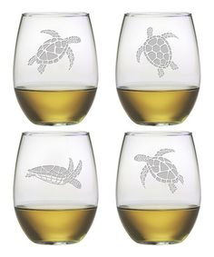 Susquehanna Glass Sea Turtle Stemless Wineglass - Set of Four | zulily