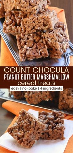 Count Chocula Peanut Butter Marshmallow Cereal Treats - the classic cereal bars get a fun twist, plus the addition of chocolate and peanut butter. This no-bake dessert recipe is fast, easy, and fun for kids of all ages. Cereal Recipes, Cookie Recipes, Dessert Recipes, Dessert Food, Chocolate Cereal, Chocolate Peanut Butter, Easy No Bake Desserts, Delicious Desserts, Cereal Treats