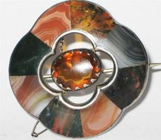 VINTAGE ANTIQUE VICTORIAN SCOTTISH AGATE LADIES SILVER  PIN BROOCH JEWELLERY