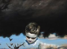 blue - child - painting - Louise Hearman