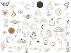 Witchcraft Symbols, Witch Symbols, Witchcraft Tattoos, Flash Art Tattoos, Mini Tattoos, Small Tattoos, Tattoos For Guys, Rebellen Tattoo, Armor Tattoo