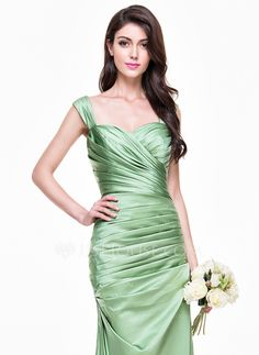 Trumpet/Mermaid Sweetheart Floor-Length Satin Bridesmaid Dress With Ruffle (007068369)