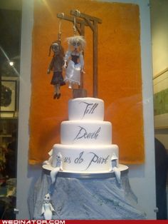 Would make a great anniversary cake since we were married on Halloween - Death by Cake