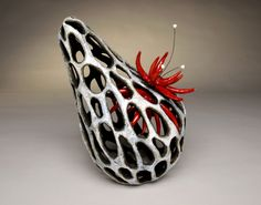 "Jenni Ward: Nest Series IV, 2010, ceramic & high temperature, wire, 12"" x 10"" 8"""