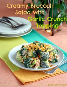 Creamy Broccoli Salad with Garlic Topper (#vegan, #glutenfree)