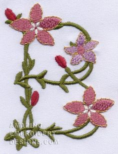Free Embroidery Design: Floral Font Letter B