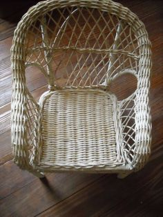 "13"" vintage wicker doll furniture chair 4 american girl antique doll toy housein my store The Chic N Prim cottage ebay have to put in the ""the "" in search engine $14"