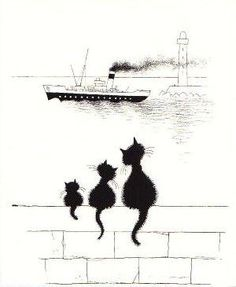 Made by: Albert Dubout - (Black cats) Albert Dubout, Black Cat Art, Black Cats, Image Chat, Photo Chat, Cat Silhouette, Cat Drawing, Beautiful Cats, Illustration Art