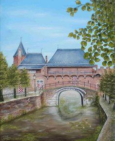 schilderij  50 x 40 cm Koppelpoort stadszijde,  uit de 2 de ommuring van Amersfoort www.adtolboom
