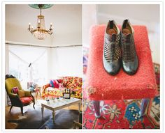 Bright vintage furniture for a cozy bridal shower indoors