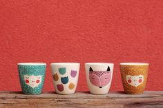 Set di illustrazione di volpe 4 del - tazza di caffè - tazza in ceramica - tazza in ceramica fatti a mano - - serveware - stoviglie - idea regalo - fatta per ordine
