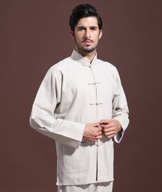 Alion Men Summer Thin Tang Kung Fu Short Sleeve Line Shirt