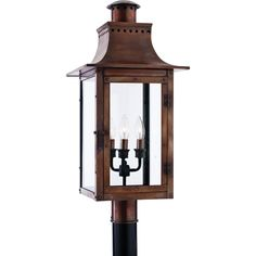 """Quoizel Post Light, Chalmers, CM9012AC, clear glass, aged copper, 26""""H"""