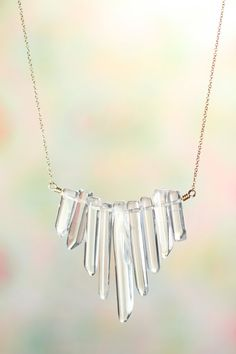 Quartz crystal necklace - crystal quartz - crystal bib necklace - Natural crystal wands on a gold filled chain Quartz Crystal Necklace, Crystal Jewelry, Gemstone Jewelry, Beaded Jewelry, Handmade Jewelry, Quartz Jewelry, Crystal Pendant, Pearl Necklace, Pendant Necklace