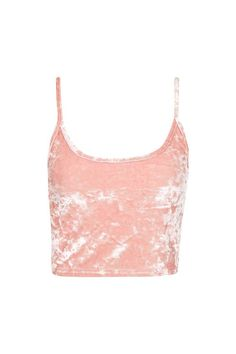 Crushed Velvet Crop Top. Topshop. Pink.
