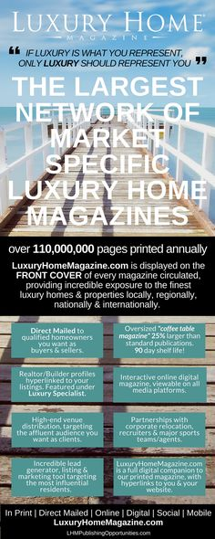 The Largest Network Of Luxury Home Magazines #luxuryhomes #luxuryrealestate #luxuryhomemagazine #luxuryhome #luxuryliving #realestate #magazinepublishing #publishingopportunity