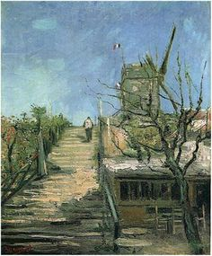 Vincent van Gogh, Windmill on Montmartre. Painting, Oil on Canvas. Paris: Autumn, 1886 Destroyed by fire in 1967.