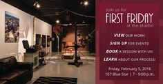 Join Kevin G Saunders Photography #FirstFriday (Feb 5) and check out their studio. They'll have some of their work on display. They will also be booking portrait and boudoir shoots and taking RSVPs for an upcoming Lighting Clinic. www.kevingsaunders.com