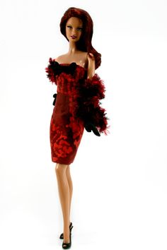 Red Dress Stole and Gloves for Barbie Silkstone Fashion Royalty Dolls