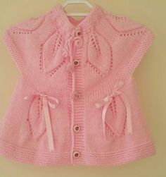 Pink knit baby dress baby vest baby dress by KnittingAndYarns