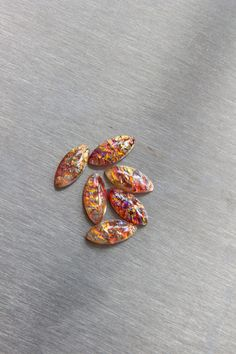 15X7mm Navette Red Opal Glass Cabochon with Flat Back and Low Dome--sold as set of six (6)